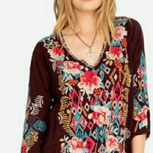 NWT Johnny Was Embroidered Tunic--Merlot Size XL